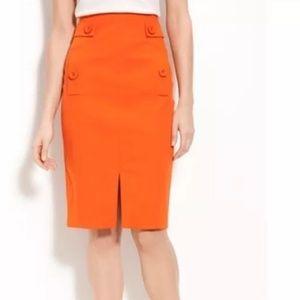 Magaschoni Textured Pencil Skirt 10 Orange